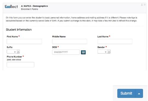 image of ecollect form with submit button
